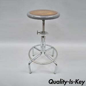 Vtg Industrial Metal Machinist Drafting Stool Adjustable Steel Work Chair Grey