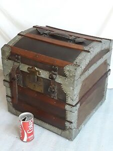 Rare Narrow 16 Wide Dome Top Antique Steamer Trunk All Original Vintage 1870