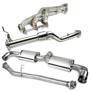 For Se3p Rx8 R2 Catback Muffler Dual Burnt Tip Exhaust Downpipe Manifold Header