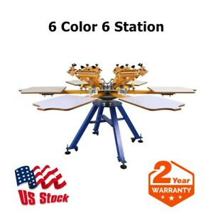 Usa 6 Color 6 Station Screen Printing Machine Press T shirt Printer Carousel