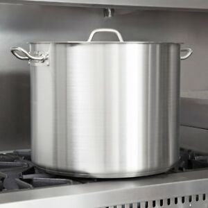 Stainless Steel Large Stock Pot Heavy Duty Restaurant Soup Pot With Lid 60 Qt