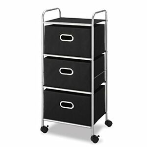 Sturdy 3 Drawer Storage Organizer Rolling Cart Unit With Fabric Storage Drawer