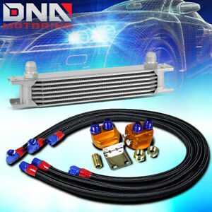 7 Row 10an Silver Aluminum Engine Transmission Oil Cooler Black Relocation Kit