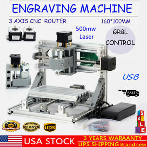 3axis Usb Cnc Router Machine 500mw Laser Engraving Milling Wood Plastic Pcb Pvc