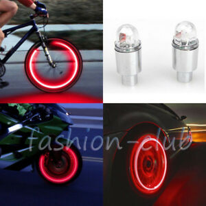 Red Motorcycle Battery Led Cycling Bike Tire Valve Caps Wheel Light Bulb Decor