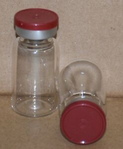 10 Ml Clear Sterile Vial W Brick Red Plain Flip Top Seal Qty 25