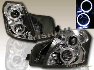 2003 07 Cadillac Cts Projector Headlights Twin Ccfl Halo Chrome Clear Housing