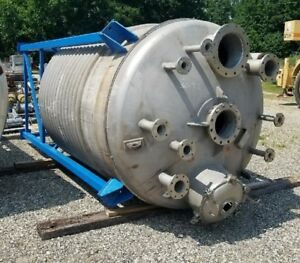 Used 2 000 Gallon 316l Stainless Steel Storage Mix Tank W Half Pipe Coil Jacket