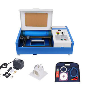 40w Co2 Laser Engraving Cutting Machine 300x200mm Water Cooling Movable Wheels