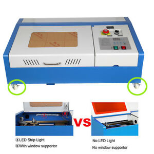 4 Wheel 40w Co2 Laser Engraving Cutting Machine 300x200mm Engraver Cutter Usb