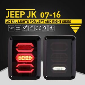 Jeep Wrangler Diamond Smoke Led Tail Light Brake Reverse Turn Singal Stop Lamp