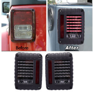 2pc Led Tail Light Rear Turn Signal Reverse Brake Lamp Fr Jeep Wrangler Jk 07 16