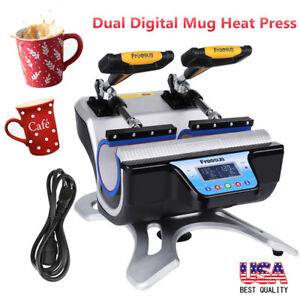 2 Cup 11oz Coffee Mug Heating Press Sublimation Digital Transfer Machine Us Plug