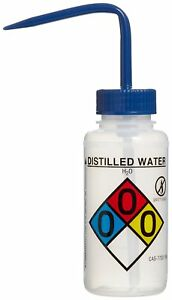 Bel art Right to know Safety vented Labeled 4 color Distilled Water Wide mouth