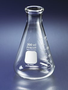 Pyrex 250ml Narrow Mouth Erlenmeyer Flasks With Heavy Duty Rim 12 pk