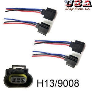 H13 9008 Wiring Harness Female Plug Led Headlight Socket For Off Road Truck Jeep