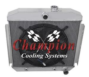 3 Row Cold Champion All Aluminum Radiator W 16 Fan For 1955 1956 Chevy Bel Air