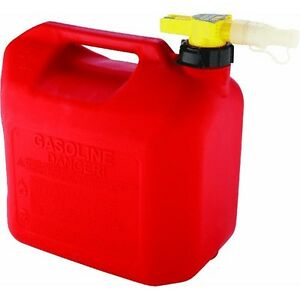 Plastic Gas Can 5 Gallon No spill Storage Red Flexible Spout Automobile Mower