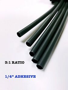 4 Ft Black 1 4 6mm Dual wall Adhesive 3 1 Ratio Heat Shrink Tubing M23053 4
