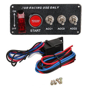 12v Led Toggle Ignition Switch Panel Engine Start Push Button For Racing Car