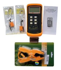 Dual Channel K Type Digital Thermocouple Thermometer 6802 Ii Pipe Clamp Hvac