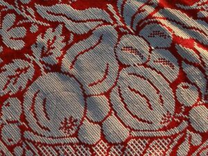 Woven 1830 Jacquard Coverlet Red White Fruit Flower 90 X 85 Signed Dated