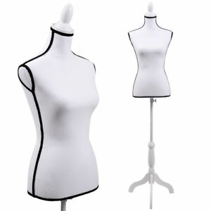 New White Female Mannequin Torso Dress Clothing Form Display Tripod Stand