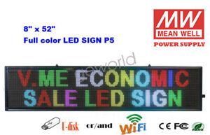 8 x52 Led Sign 7 Color Programmable Scrolling Indoor Message Display Board P5