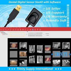 Digital X ray Dental Intraoral Sensor Size 2 With 500 Sleeves And Software New