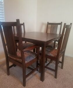 Stickley Mission Oak Arts Crafts Era Table Chairs Dining Set