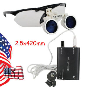 Dental Loupes 2 5x Surgical Medical Binocular Loupes 420mm Led Head Light Study