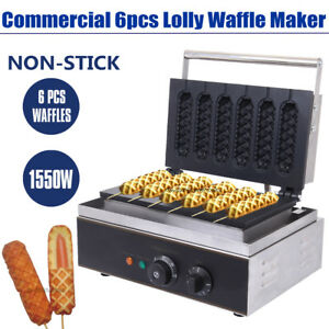 110v Commercial 6pcs Lolly Waffle Maker Machine Sausage Hot Dog Machine 1550w