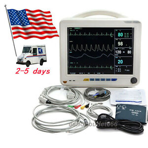 12 Icu ccu Patient Monitor Vital Sign Nibp spo2 ecg temp resp pr Cardiac Ce usa
