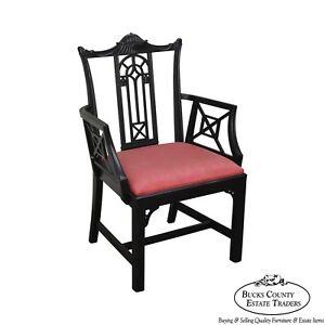 Chinese Chippendale Style Black Painted Vintage Arm Chair