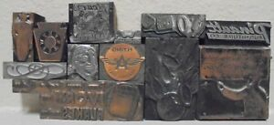 Lot Of 12 Letterpress Printing Block Press Metal Wood Type Set Advertising