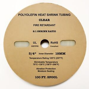 100 Ft Clear 3 4 19mm Polyolefin 2 1 Ratio Heat Shrink Tubing M23053 5 Cl3 Ul