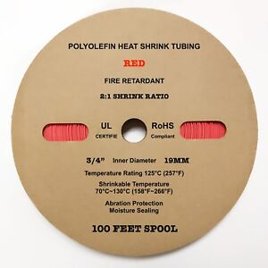 100 Ft Red 3 4 19mm Id Polyolefin 2 1ratio Heat Shrink Tubing M23053 5 Cl3 Ul