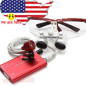 3 5x Red Dental Surgical Binocular Loupes Optical Glasses led Head Light Lamp