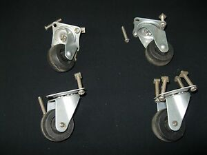 Lot Of 4 Vintage Metal Rubber Revolving Ball Bearing Caster Wheels 2