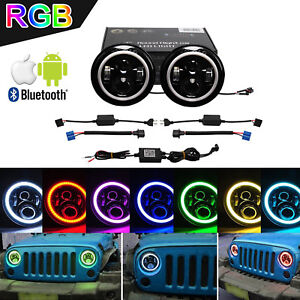 2x 7inch 40w Rgb Halo Ring Cree Led Headlight W Bluetooth Jeep Wrangler Jk Tj