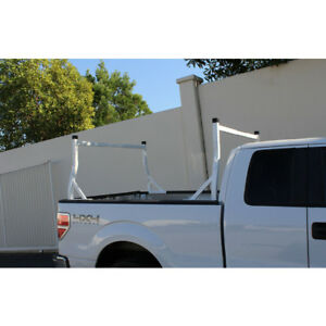 Adjustable Aluminum Pickup Truck Ladder Rack Utility Lumber Kayak Cargo White