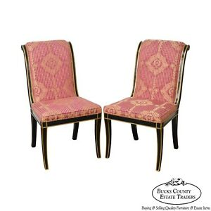 Regency Directoire Style Black Gold Frame Upholstered Pair Of Side Chairs
