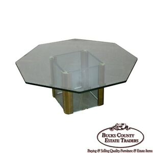 Leon Rosen For Pace Brass Glass Octagonal Top Coffee Table