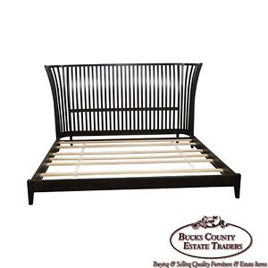 Vermont Tubbs Hand Crafted Espresso Finish Slat Back Custom King Size Bed