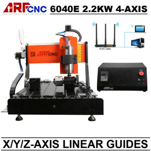 Four 4 Axis 6040 2 2kw Cnc Router Engraver Milling Machine X y z Linear Guides