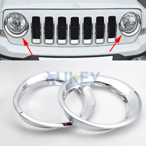 Chrome Front Headlight Head Light Lamp Cover Trim For Jeep Patriot 2011 2016