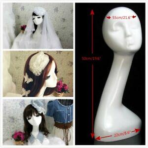 19 6 White Fiberglass Abstract Hat Display Wig Holder Rack Head Mannequin Stand
