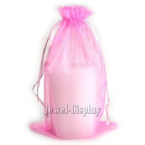 200 Pink Organza Wedding Favour Bags Jewelry Pouches 15x23cm