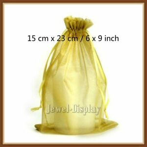 200 Pcs Gold Organza Jewelry Packaging Pouches Gift Bag 15 X 23 Cm 6 X 9 Inch