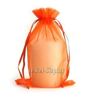 200 Orange Organza Wedding Favour Bags Jewelry Pouches 15x23cm